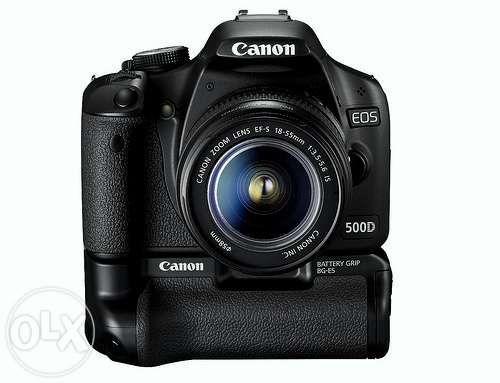 Canon d500 + lente 15-55mm + lente 55-250mm + grip + flash externo