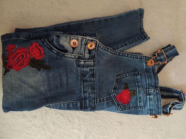 Spodnie jeansowe na szelkach primark 98 104