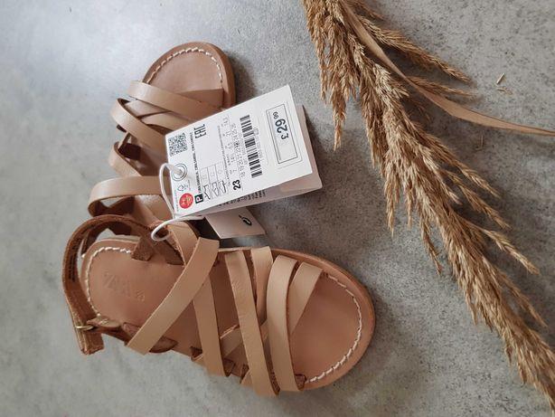sandalki skórzane ZARA 23 sandały dla dziewczynki