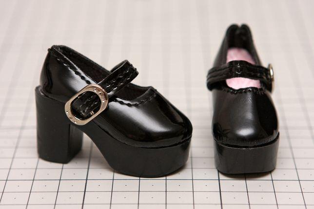 Buty dla lalki BJD Minifee 1/4 czarne z klamrą