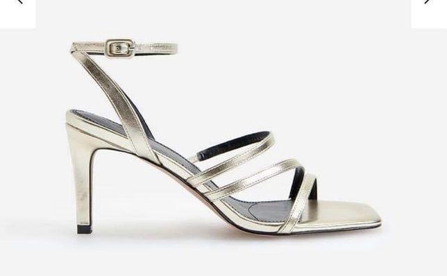 Buty sandały sandałki ślubne 38 złote reserved