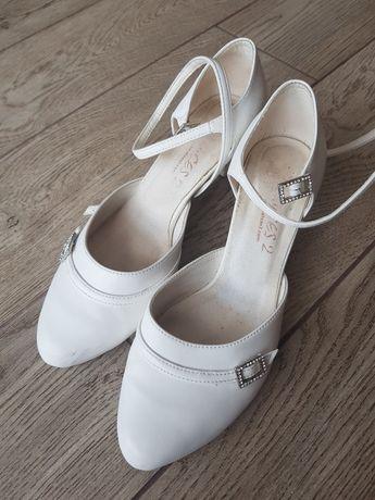 Buty ślubne białe czółenka używane rozmiar 38/39