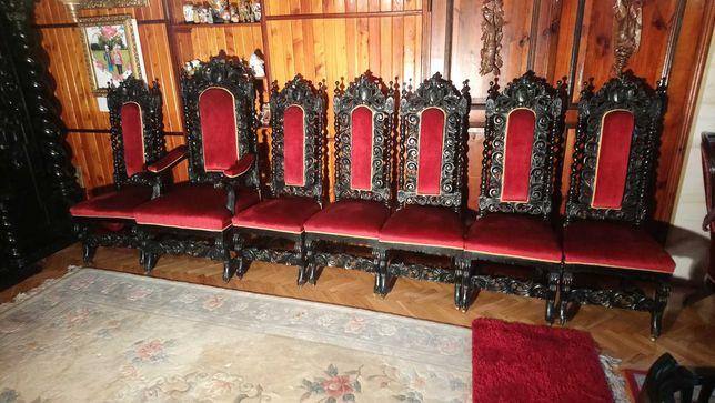 Fotele tronowe i krzesła styl Gdański Neobarok 8sztuk