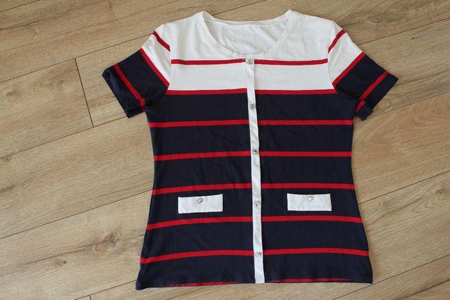 Bluzka w stylu marynarskim M 38, granatowa koszulka w paski 38 M
