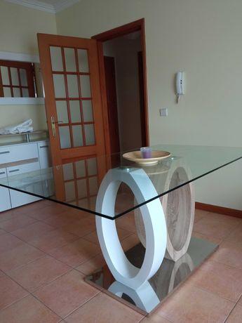 Mesa sala jantar vidro moderna carvalho, branca e metálica