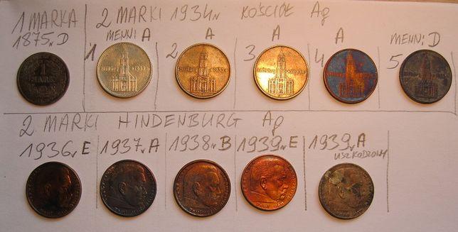 Stare srebrne monety Niemieckie 1, 2 i 5 marek.