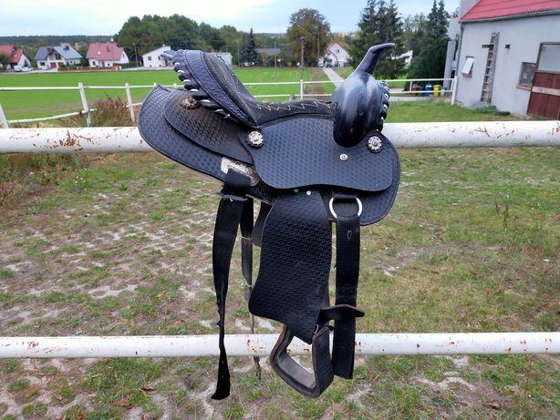 Siodło westernowe na kucyka czarne kompletne pony popręg west western