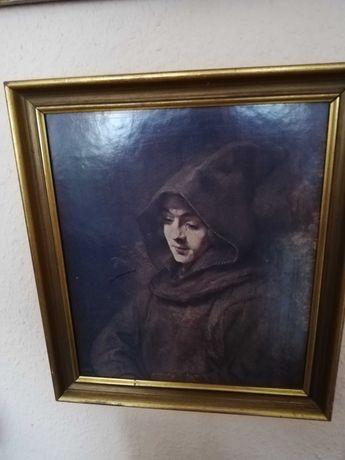 """Картина антикварная в деревянной рамке, оттиск """"Titus"""" Рембрандт"""