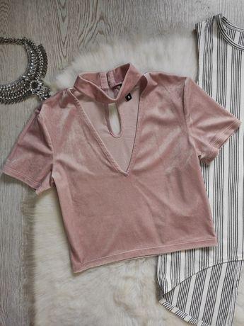 бархатный розовый кроп топ с чокером короткая футболка стрейч блуза