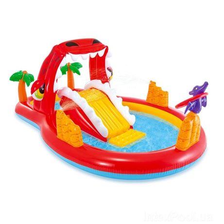 Надувной бассейн детский с горкой с фонтаном Intex 57160