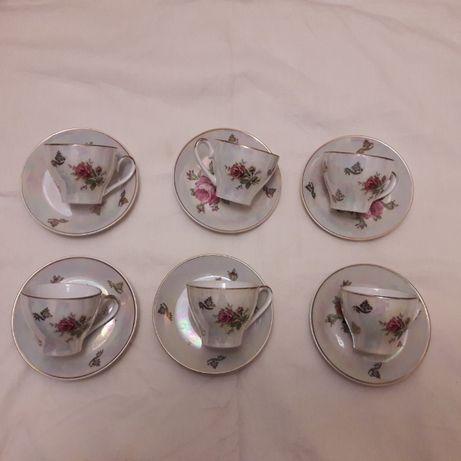 Кофейные пары чашка с блюдцем 6шт. фарфор Роза Германия