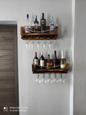 Promocja Szafka barek na alkohol kieliszki wino stojak industrialny