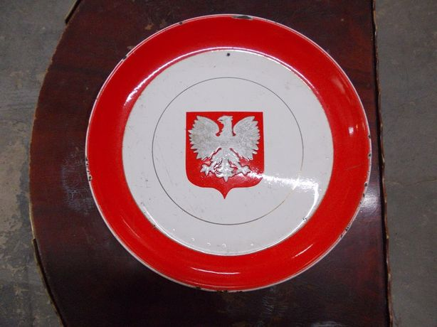 Stary emaliowany talerz PRL 31 cm.