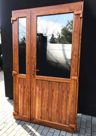 125X210 drzwi PCV ZŁOTY DĄB nowe szyba panel
