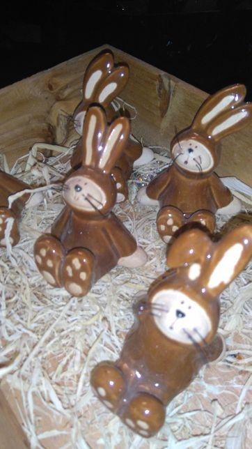 zające Wielkanocne ceramiczne 4 sztuki
