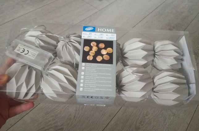 Lampki led na baterię nowe lampiony szare origami pepco