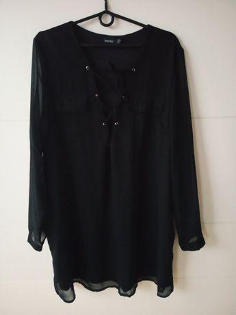 Czarna sukienka 48 50 prześwitujące rekawy