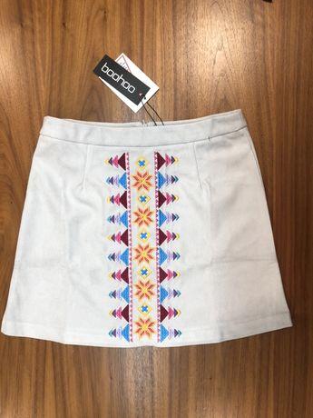 Szara zamszowa spódnica - boohoo (nowa, z metką)