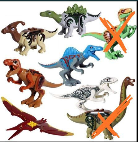 6 małych dinozaurów. Indominus T Rex parazaurolof. Jak LEGO