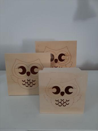 Conj de 3 caixas em madeira