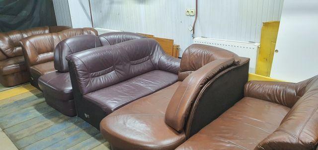 Narożnik skórzany kanapa sofa skóra rogówka funkcja spania jak nowy