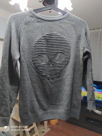 Szary sweter ZARA Kids z czaszką roz 140