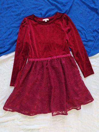Платье  бордовое школьное 10-12 лет нарядное