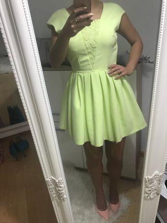 Sukienka rozkloszowana limonkowa