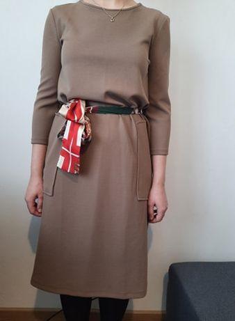 beżowa nude Sukienka Zara 38