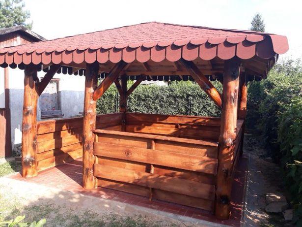 Meble ogrodowe- altanka altana obita z prostego bala
