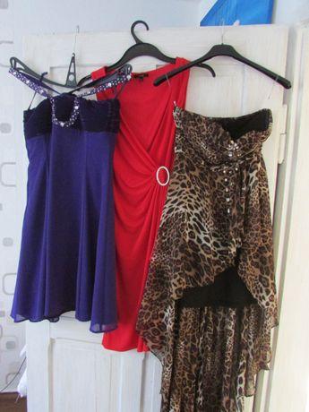 Trzy sukienki w cenie jednej rozm M czerwona fiolet panterka