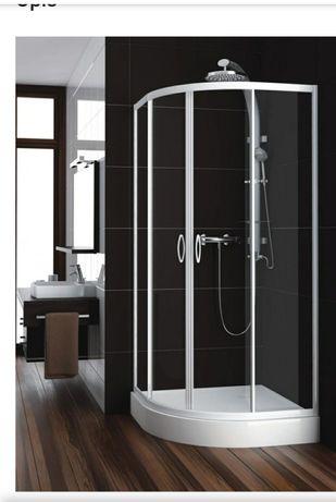 Kabina prysznicowa półokrągła Nigra 90 cm szkło przejrzyste +brodzik