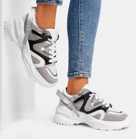DeeZee szaro-białe sneakersy Freedom