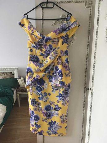 NOWA żółta sukienka ASOS hiszpanka w niebieskie kwiatki floral L 40
