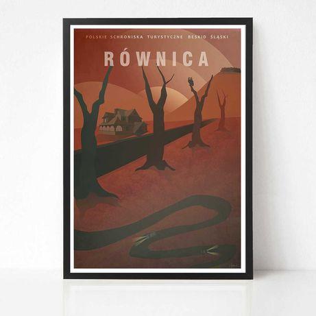 Plakat Równica autorska grafika Beskidy góry Polska