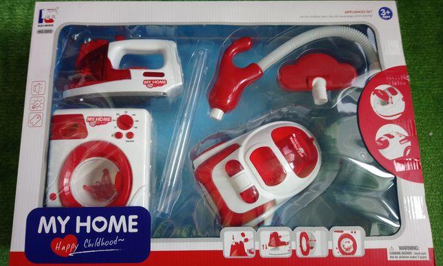 Детский набор стиральная машина ,утюг,пылесос ,My Home