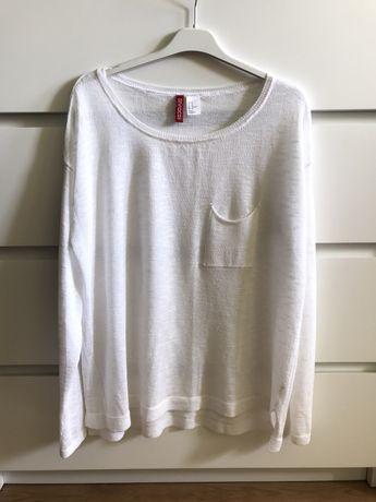 Biały sweterek z kieszonką rozmiar M H&M