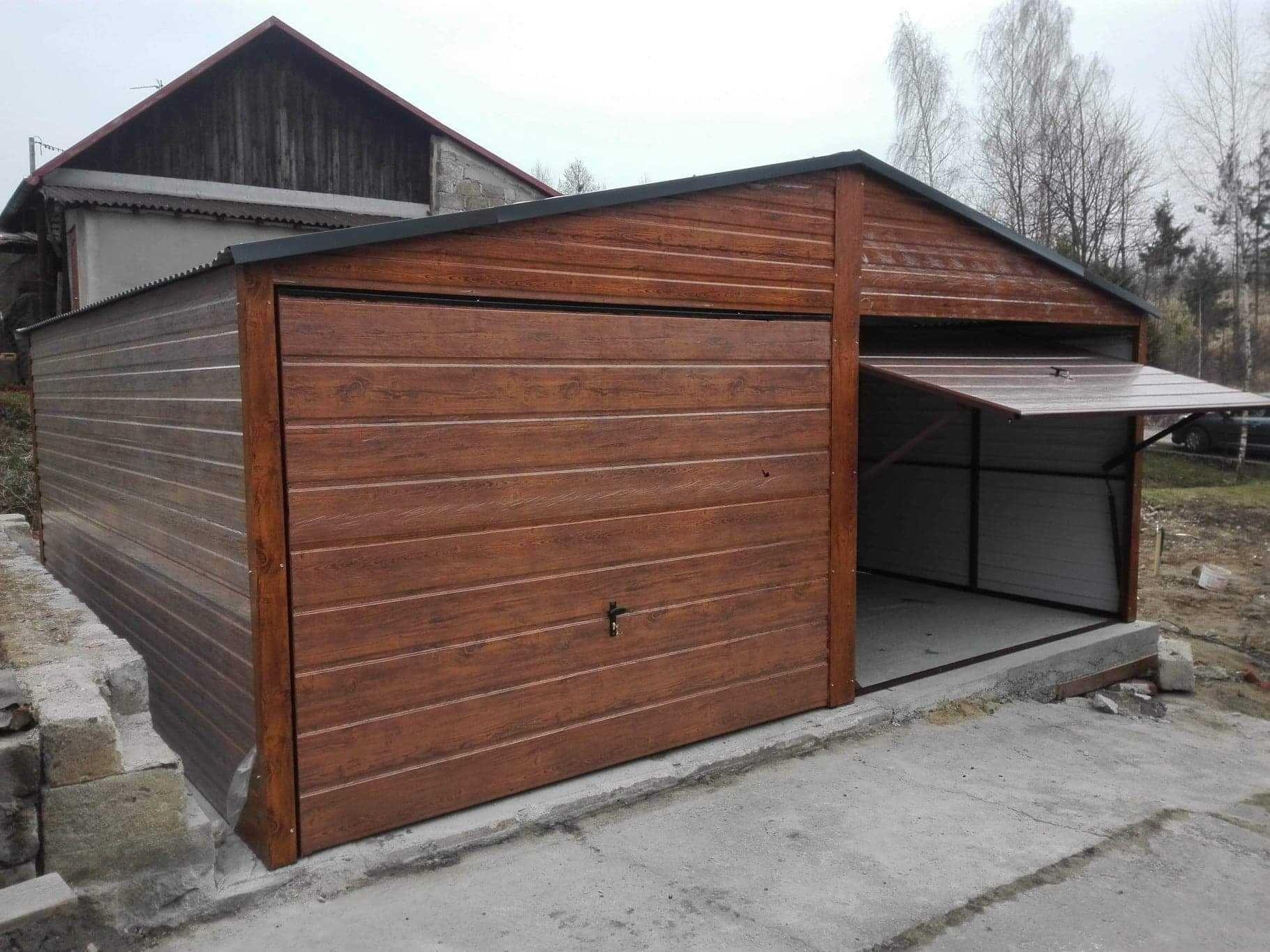 Garaż drewnopodobny 6x5, dach dwuspadowy,garaże blaszane 6x6, 5x6, 7x6