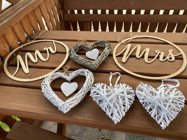 Ozdoby wiszące na ślub - zestaw serca