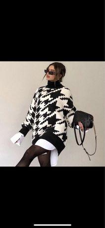 Sweter oversize pepitka S Nowy