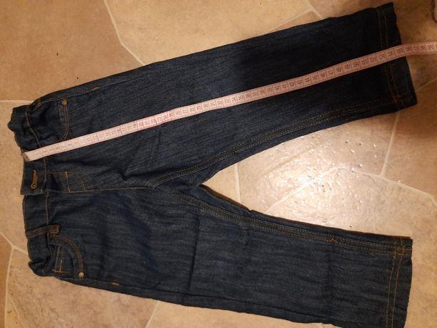 Dżinsowe jeans spodnie, z regulacją, rozm 98