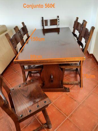 Vendo mesa de jantar com 6 cadeiras