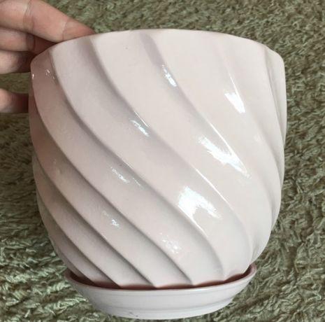 Doniczka różowa ceramiczna