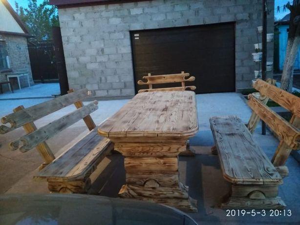 стол деревянный сруб и две лавки сруб