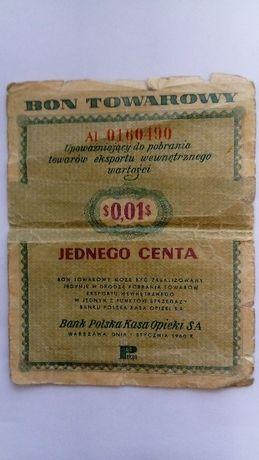 Bon towarowy 1 cent 01.1960