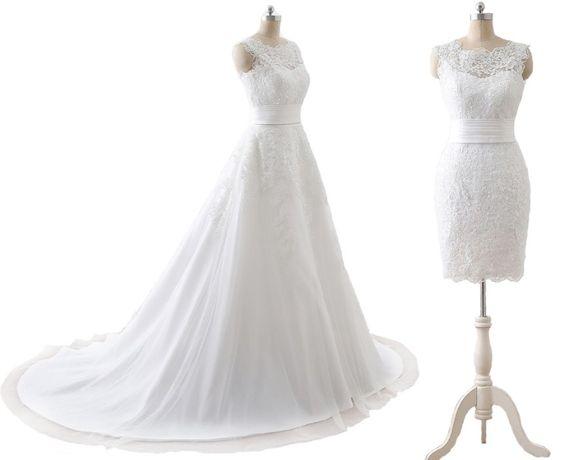 suknia ślubna 2 w 1 odpinana spódnica 38 M