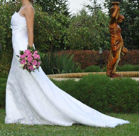 Suknia ślubna koronkowa + bolerko, biała 36 (S)