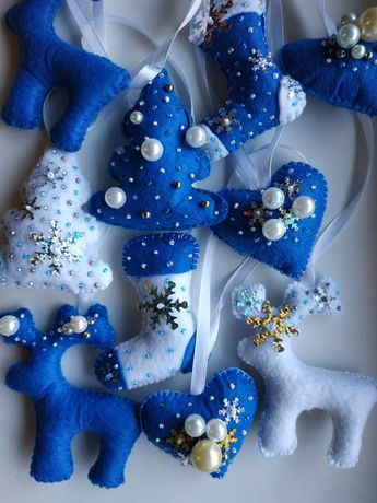 Ёлочные новогодние игрушки из фетра ручной работы, поделки из ткани