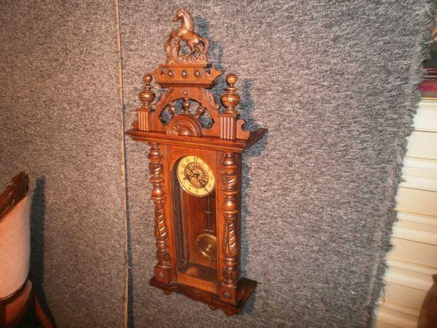 Antyk Zegar Ścienny z Koniem Deutsche Patent z Niemiec