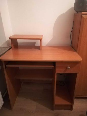 biurko z szufladką i nadstawką na monitor